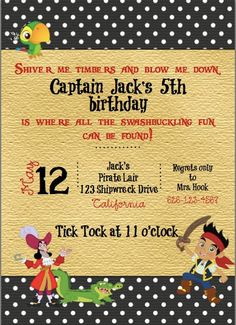 Custom Jake and the Neverland Pirate Invite by ckfireboots on Etsy, $5.00