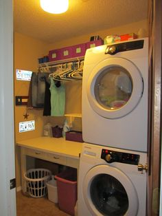 stackable washer and dryer, washer dryer storage, laundry rooms, laundry room stackable, small spaces, laundry baskets, laundry room with stackables, laundri room, stackable laundry room