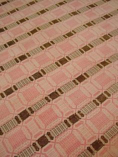 """coverlet   natural linen + hand-dyed wool   overshot   three 28"""" panels, seamed   Pennsylvania, U.S.A.   c. late 1700s-early 1800s"""