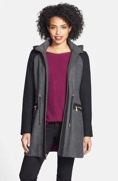 Laundry by Shelli Segal Faux Fur Trim Colorblock Tweed Coat   Nordstrom