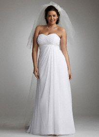 Slimming and stunning, this soft A-line gown will have all eyes on you.  Pleated sweetheart bodice is feminine and flattering.  Side drape cascades from beaded empire waist to slim and lengthen.  Chiffon fabric shapes a soft A-line silhouette for added romance.  Chapel train.  Fully lined. Back zip. Dry clean only.  Available by special order only in Ivory or White.  Also available inMIssy sizes 0-16,Style WG3078,