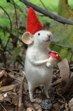 Little Gnome Mouse  needle felted ornament animal by feltingdreams, $58.00