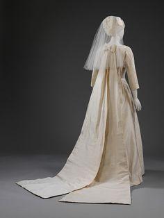 Ivory Shantung-Silk Wedding Gown with 2-Piece Train, 1963.