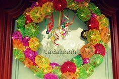 Paper Umbrella Wreath