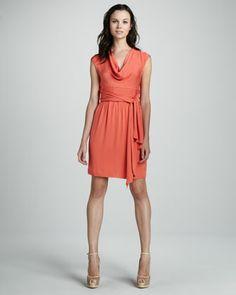 Catherine Malandrino Cowl-Neck Belted Dress - Neiman Marcus, $395