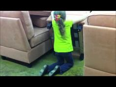 """7 year old putting together a small sectional by Simplicity Sofas fits through any opening of 15"""" or wider.  Perfect small sectional for any small space or tight places."""