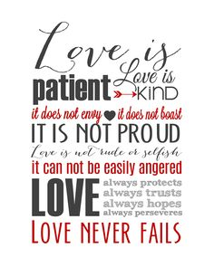 Love is Patient Subway Art - 1 Corinthians 13 Free Printable #valentinesday