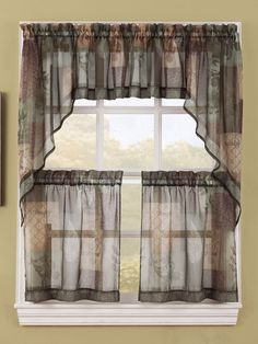 Enhance the appearance of your kitchen decor with the stylish Eden Curtains. Bring in an open and airy feel into your kitchen with this sheer voile fabric curtain separates program.  #Cafe #Tier #Curtains