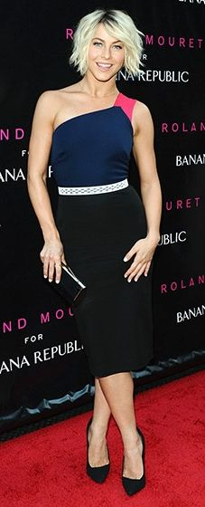 Julianne Hough wore the Sloan One-Shoulder Colorblock Dress from the Roland Mouret for Banana Republic Collection.