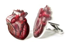 Cuff links Anatomical Heart Cufflinks Red Blue by TheSpangledMaker, $20.00