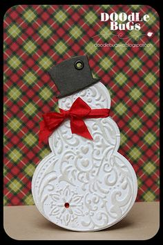 Snowman Gift Tag- Sizzix cut and emboss die set