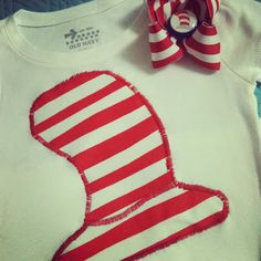 Cat in the Hat shirt and matching bow. Perfect for Dr. Seuss birthday in March!