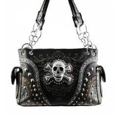 Black Skull Studded Conceal and Carry Purse In Stock: 69.99