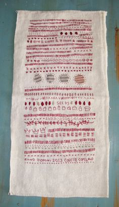 Red thread, Hand embroidery on antique French handspun linen, Sampler, one of a kind. Can buy this on Etsy, by Colette Copeland- beautiful!
