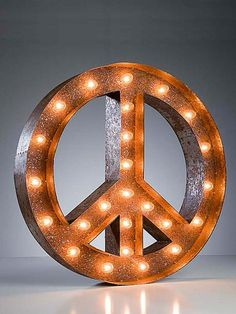 Vintage Marquee Lights-Peace Sign.
