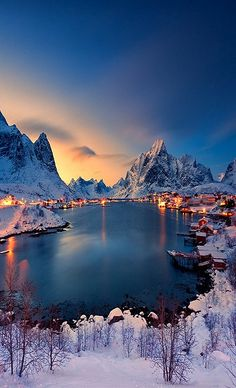 Snowed landscape in Hamnøy, Norway.