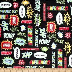 Kaufman Superhero Minky Cuddle Pow Adventure Black from @fabricdotcom  Licensed through Robert Kaufman Fabrics, this Minky Cuddle fabric has an extremely soft 3mm pile that's perfect for apparel, blankets, throws, pillows and stuffed animals. Colors include baby blue, mango, dark lime, red, snow white and black.