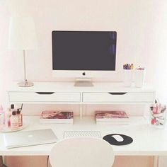 pastel room, room colors, room idea, offic, hous idea, desks, desk areas, bedroom, white furniture