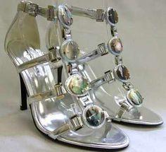 Karen Millen shoes leather silver Stiletto heels size 5