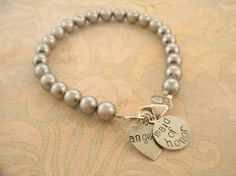Swarovski Pearl Bracelet with Name/ bridesmaids by MayaBelle, $43.00