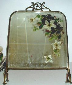 Victorian painted mirror fire screen