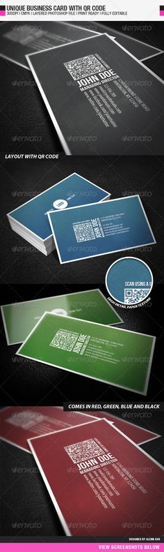 """Business Card With QR Code  #GraphicRiver           General Description This business card is designed with a unique concept in mind. The name and designation are designed to be viewed in a portrait manner whereas the rest of the information are viewed in a landscape manner. This is a unique touch compared to other business card which is usually viewed in 1 specific manner. This business card also comes with a QR code. The content and the QR code are strategically placed to achieve the best in terms of usability and aesthetics.  This design comes with four different colors which caters to different preferences.  Detail   Fully Layered PSD files  Fully Customizable and Editable  CMYK Setting  300 DPI High Resolution  3.5"""" x 2""""(3.75"""" x 2.25"""" with bleed setting)  Print Ready Format  Font Used: Myriad Pro and Bebas Neue  QR code implemented(Instruction on how to generate and insert QR Code is available in the readme file)  Files Included:   1 PSD file for every color(red, blue, green and black)  1 Readme text file  1 Reference Image        Created: 23September11 GraphicsFilesIncluded: PhotoshopPSD Layered: Yes MinimumAdobeCSVersion: CS PrintDimensions: 3.5x2 Tags: black #blue #businesscard #clean #corporate #elegant #green #namecard #pattern #professional #red #shield #simple #stylish #texture #unique #white"""