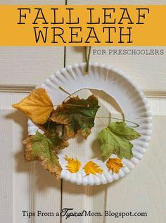 leaf wreath, fall preschool activity, fall leaves, preschool crafts fall, fall kid crafts