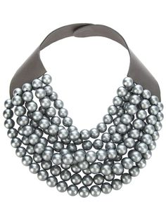 Grey calf leather necklace from Rosanna Fani