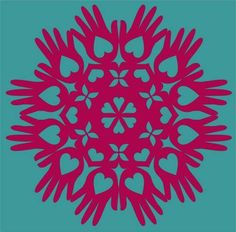 Paper Snowflake Cutting PATTERN Heart in hand is a traditional Shaker motif.