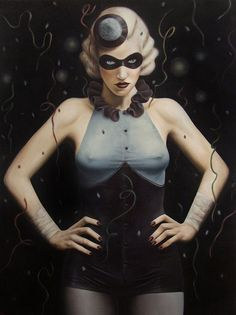 """""""Masquerade Ball"""" - Jared Joslin, oil on canvas, 2010 {contemporary figurative artist beautiful masked blonde female sexy woman painting}"""