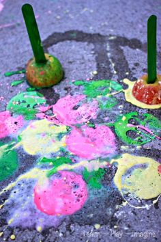 Erupting apple prints!  A fizzing twist on a fall classic.