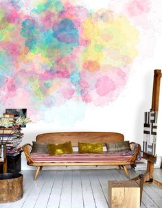 wall art, boho chic, watercolor wall, living rooms, living spaces