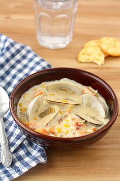 Sweet Potato and Corn Clam Chowder - a twist on traditional New England Clam Chowder