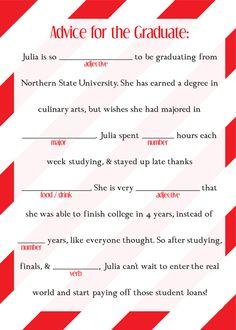 Graduation Mad Libs, Ad Lib, College, High School, Grad, Printable, Fill in the Blank, Decoration, Favor, Digital, DIY, Custom, Party by DesignsByTenisha, $5.00