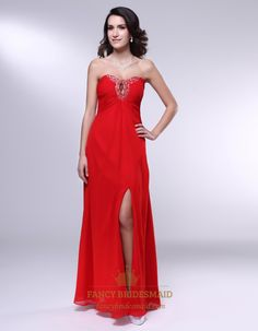 Long Strapless Chiffon Formal Gown, Red Chiffon Empire Waist Dress, Long Evening Dresses With Side Split, Red Gathered Draped Chiffon Strapl...