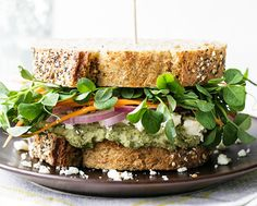 Mediterranean loaded veggie sandwich | HellaWella - 13 vegetarian sandwiches that are reasonably easy to pack for work