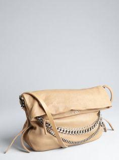 jimmy choo khaki leather 'Biker' charm chain shoulder bag