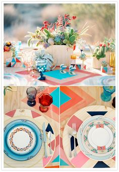 geometric tablescape, wooden succulent planter boxes and decorative dishes