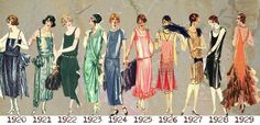 1920's Evening Wear Timeline. #Downton #Fashion #Era