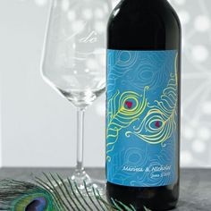 Personalized Wine Bottle Labels - Perfect Peacock Wine Label (19 Colors) Peacock Theme Wedding #peacock #wedding #ideas