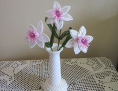 French Beaded Flowers Pink and White