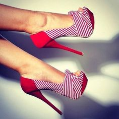 red shoes, candi, heel, pump, candy canes, closet, walk, sailor, stripe