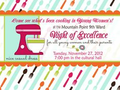 Cooking Party Printable Invitation, LDS Young Women in Excellence Invite, New Beginnings, Custom, Personalized