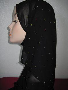 Black abaya rhinestones shawl