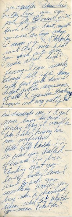 """Marilyn Monroe's hand-written """"cheat sheet"""" (front & back) used during the filming of Gentlemen Prefer Blondes (1953)"""