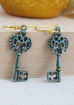 Vintage Style Patina Skeleton Key Earrings