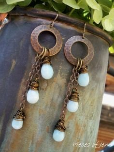 Wire Wrapped Amazonite and Brass Long Dangle Earrings