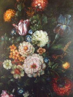 Stunning Large Floral Oil Painting On Canvas With Wide Gold Wood  Frame on Etsy, $429.00