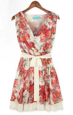 Floral Bandeau Belt Pleated Dress