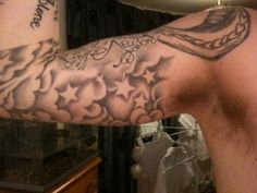 star forearm Tattoo Ideas | Inside of My Arm, Work In progress sleeve, need to get clouds blended ... Ink Star, Star Tattoos, Stars, Star Forearm Tattoo, Cloud Tattoo Ideas, Storm, Cloud Tattoos, Cloud Tattoo Sleeve, Cloud Tattoo Filler